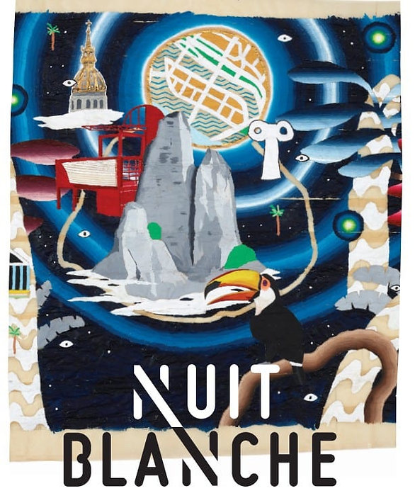 Paris City Hall Nuit Blanche Sleepless Night 2018 Paskale MET presents Ex-Temporise performance painting, action painting, abstraction, dance and music.