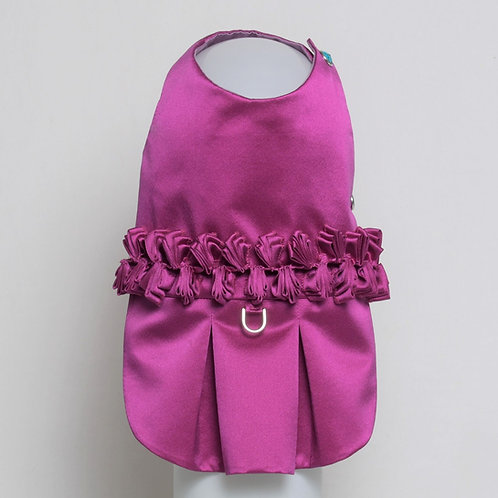 Magenta silk dress with ribbon detail