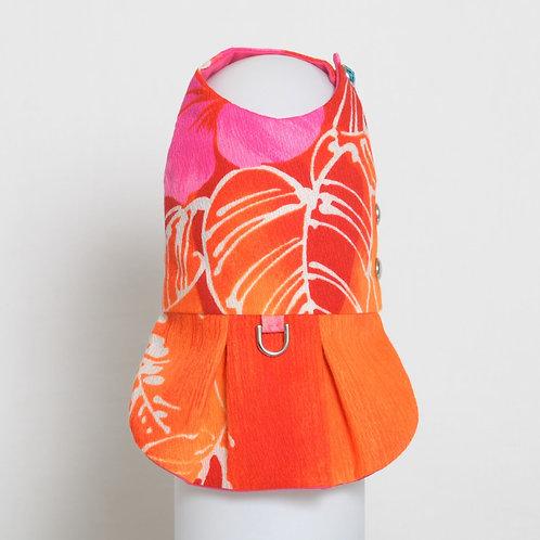 1960's Neon Hibiscus dog dress #3