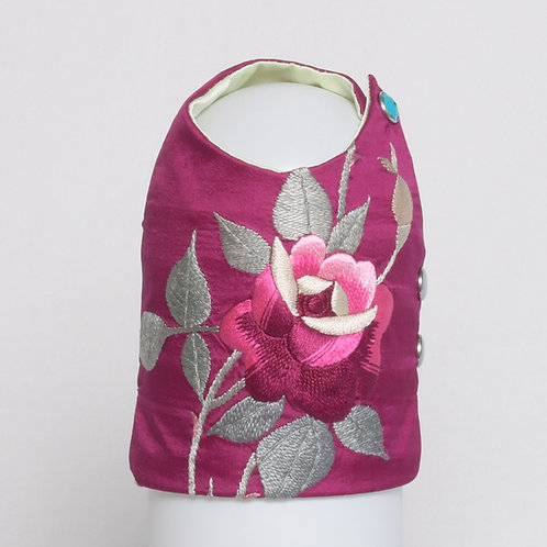 Magenta silk vest with 3D embroidered rose