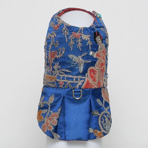 Blue silk dress with forbidden stitch Geisha