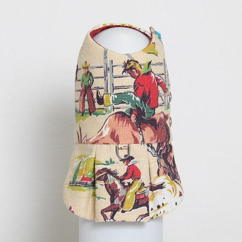 1950's Western Cowboy barkcloth dog dress #6