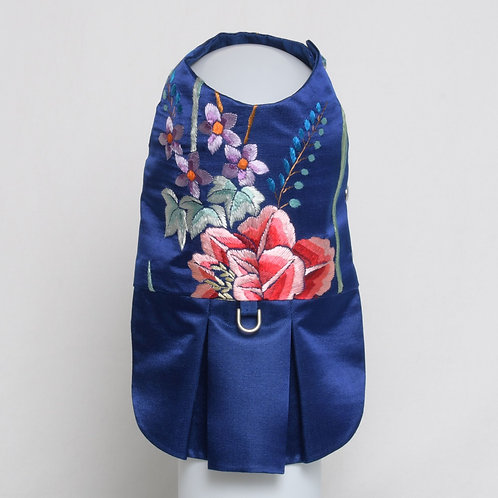 Blue silk dress with hand embroidered flower bouquet