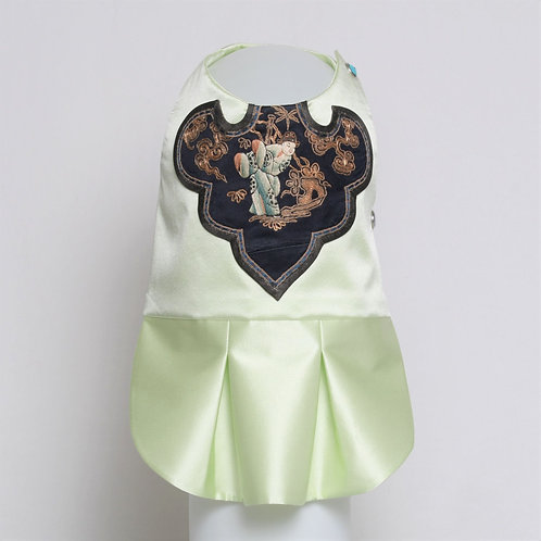 Pale green silk dress with antique Chinese collar