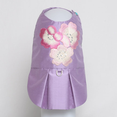 Lavender dupioni silk dress with embroidered pink kimono flowers