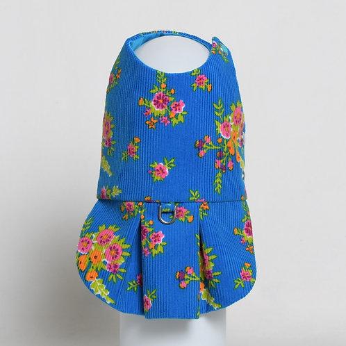 Gucci blue floral cotton corduroy dress