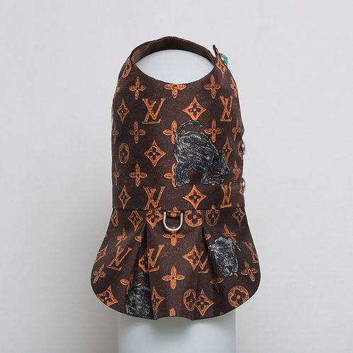 Louis Vuitton Grace Coddington brown silk dress #6