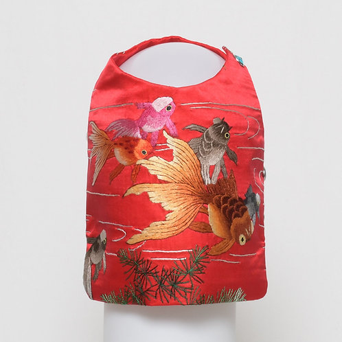 Red silk vest with colorful hand embroidered fish