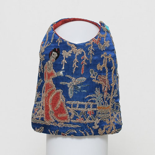 Blue silk vest with forbidden stitch Geisha
