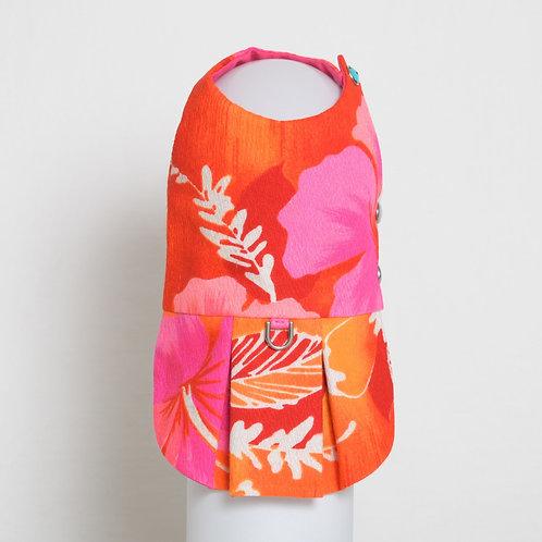 1960's Neon Hibiscus dog dress #4