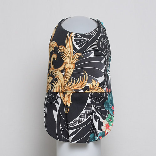 Versace flowers and filigree on black and white cotton dress #9