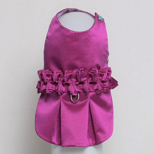 Magenta silk dress with ribbon detail