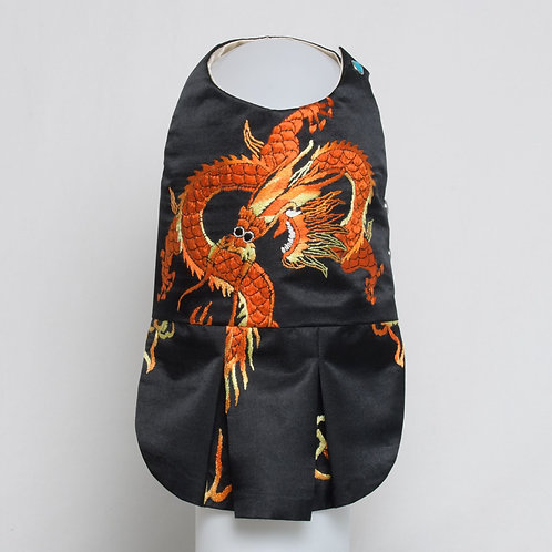 Black silk dress with WWII embroidered dragon