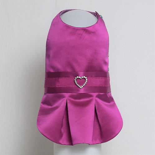 Magenta silk dress with ribbon detail and heart pin