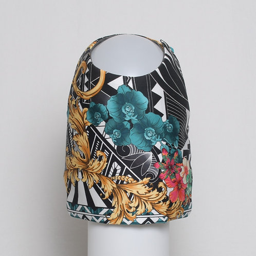 Versace filigree and flowers on black and white cotton vest #5