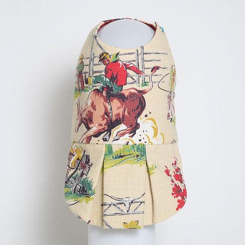 1950's Western Cowboy barkcloth dog dress #9