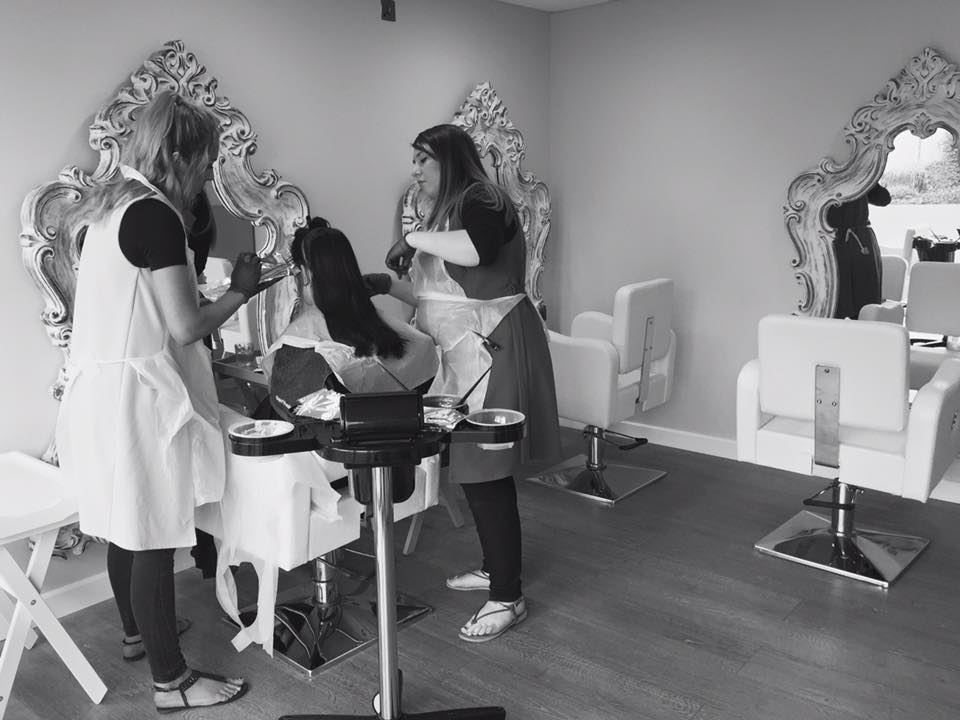 girls working in a hair salon