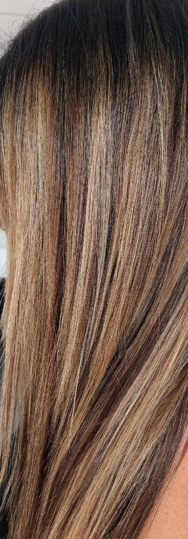 Blonde and brunette dimensional balayage