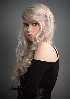 hair model with blonde hair and pastel colour hair