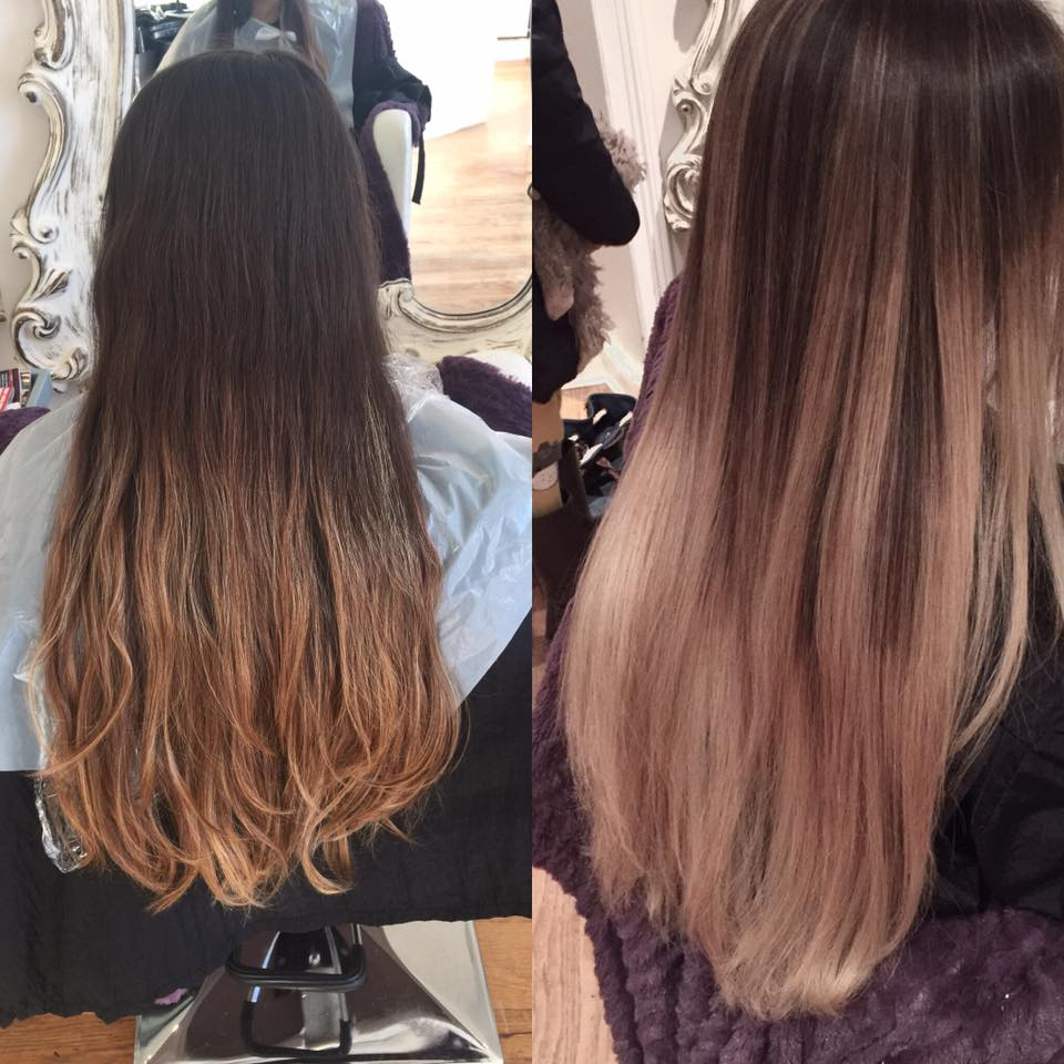 before and after balayage on a girl