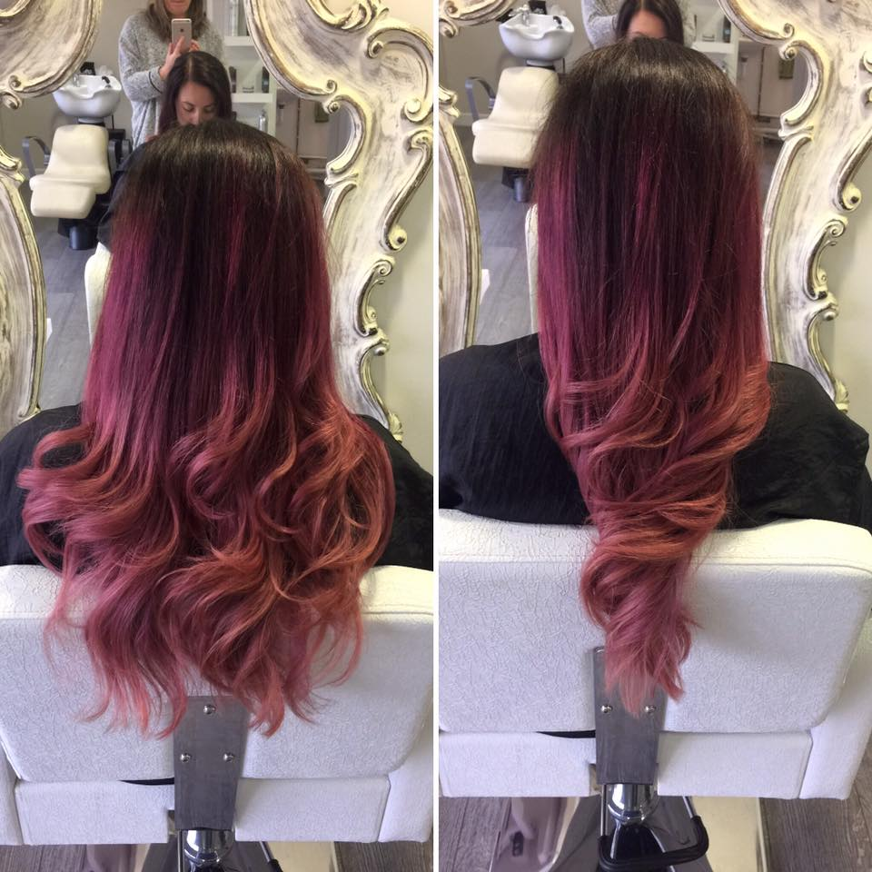 pink and copper ombre