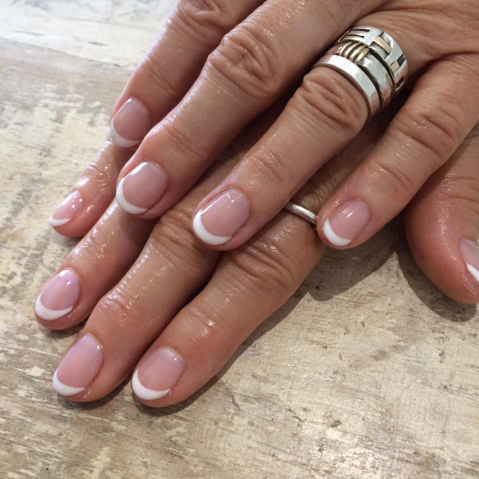 french polish with gel overlay