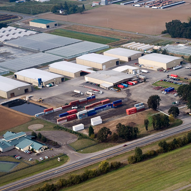 Aerial Shot Hay Warehouses