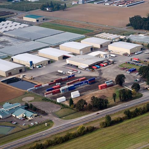 Aerial Shot Hay Warehouses