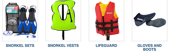 snorkel sets, snorkel vests