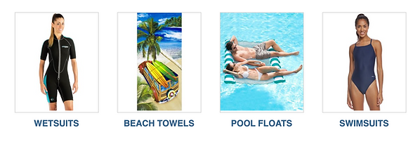 wetsuits, beach towels, pol floats, swimsuits