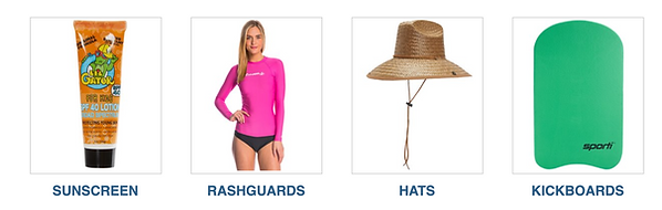 Hawaii sunscreen, rashguards, hats, kickboards