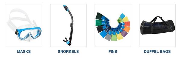 snorkel masks, fins, duffel bags