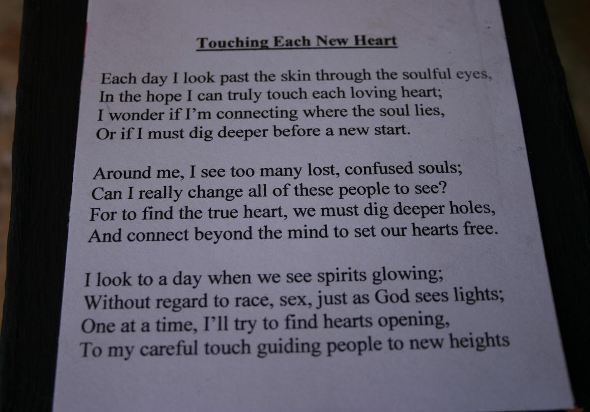 touching each new heart (top with poem)