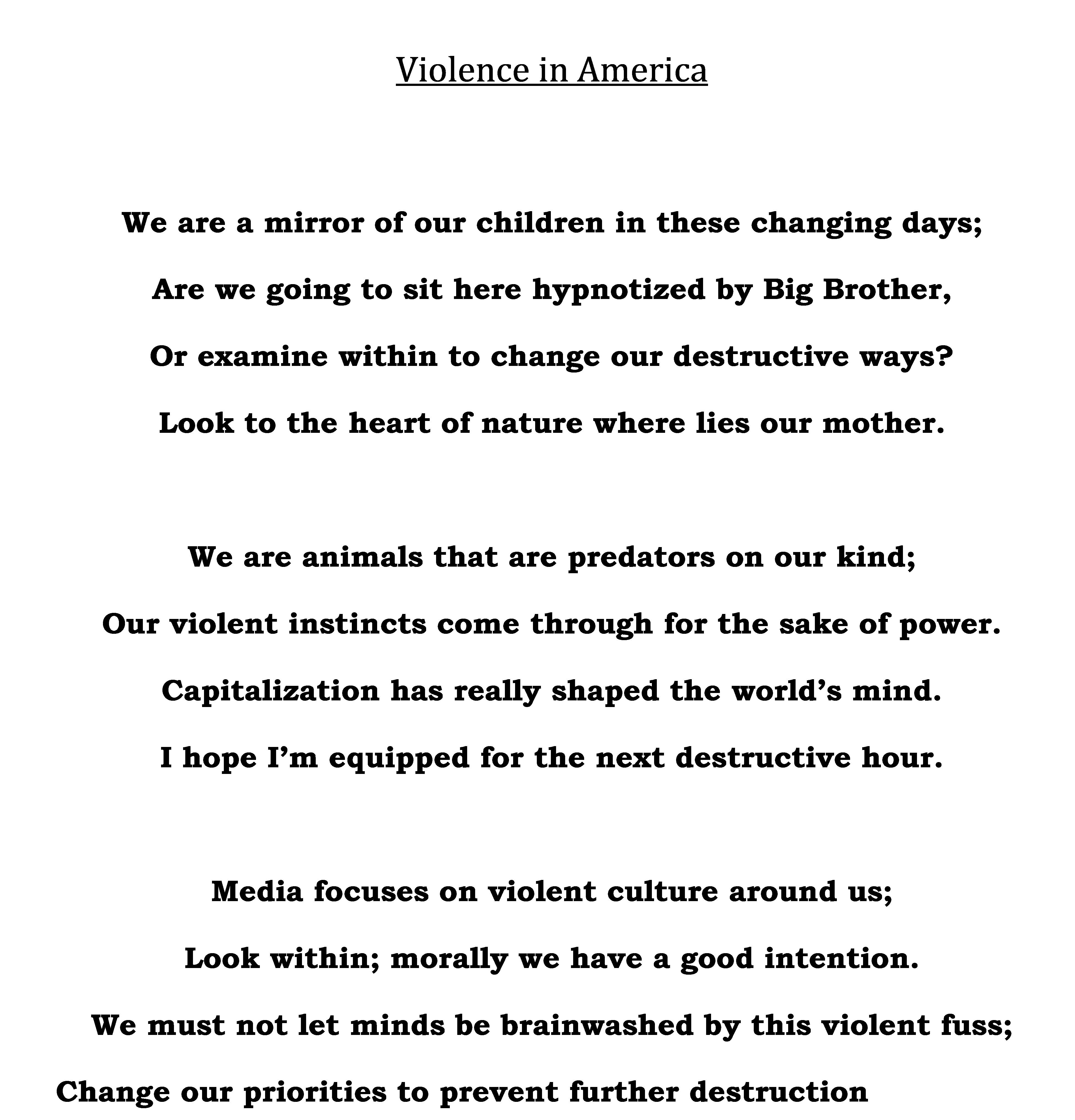 """""""Violence in America"""" poem"""