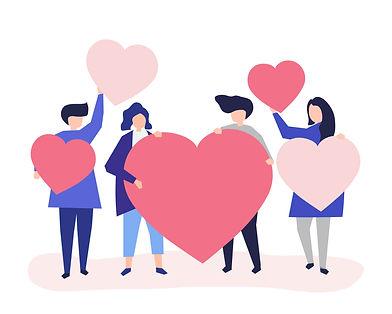 aide et soutient de personne avec coeur.