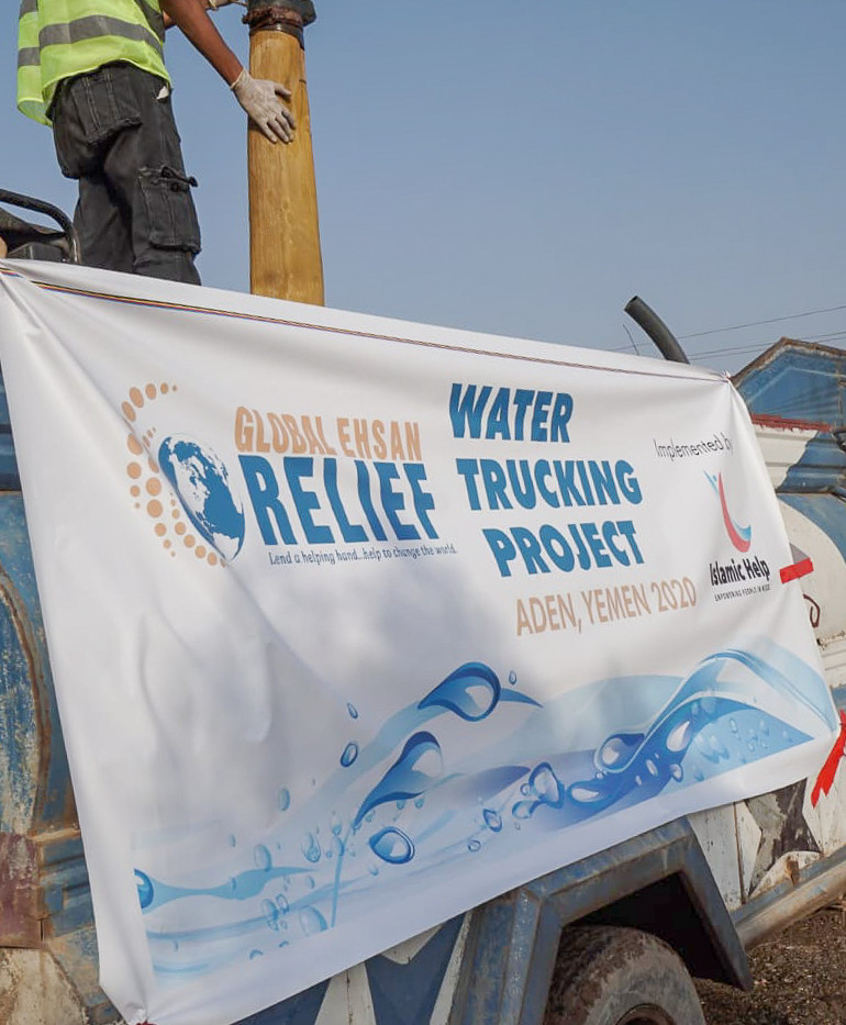 Providing clean water through water trucks