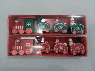 xmas train wooden red