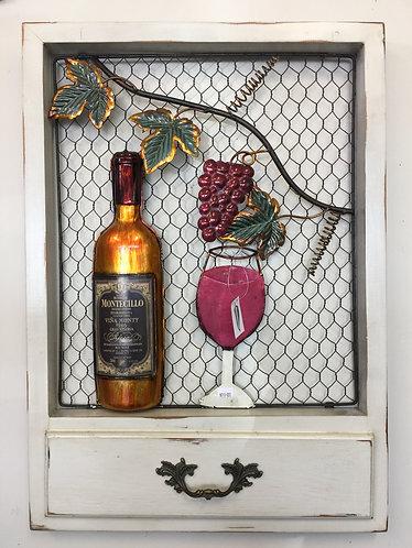 Wooden frame-wine scene