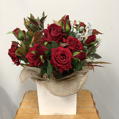 Roses in wooden box