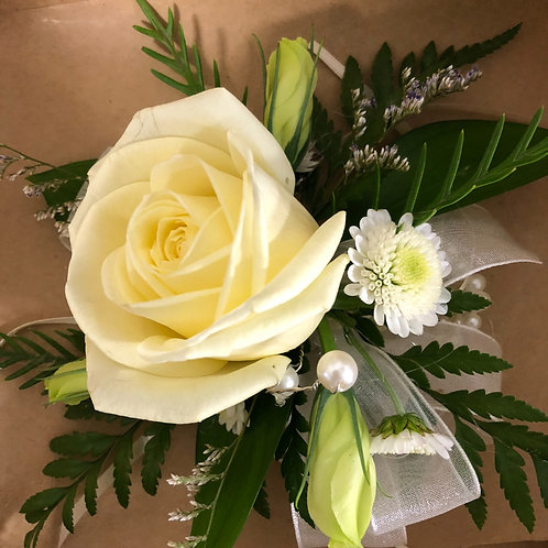 White rose corsage with bracelet