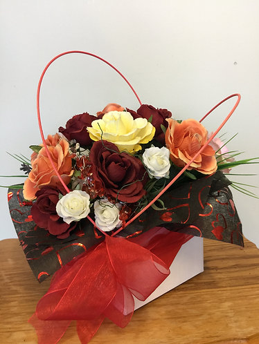 Mixed roses in box