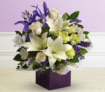 White  & purple box arrangement