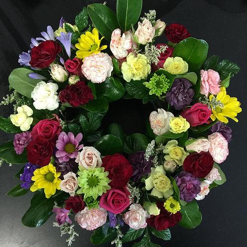 wreath with fresh flowers