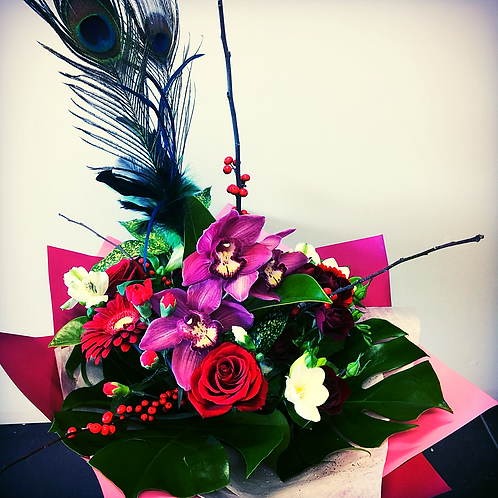 Bouquet with peacock spray