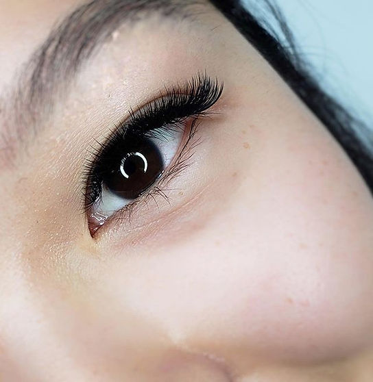 Lashes are created in many curls and len