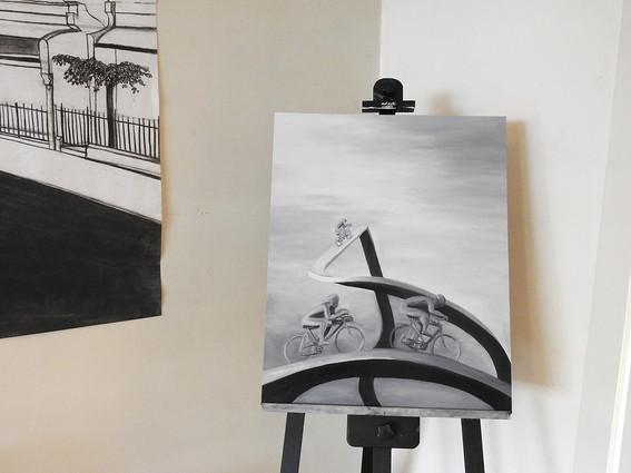 Painting of 'Le Tour de France dans Les Les Pyrènèes' | by Belle Formica