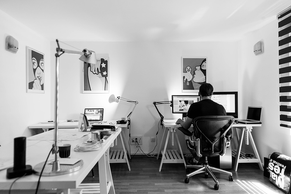 Typical studio of a creative graphic design agency