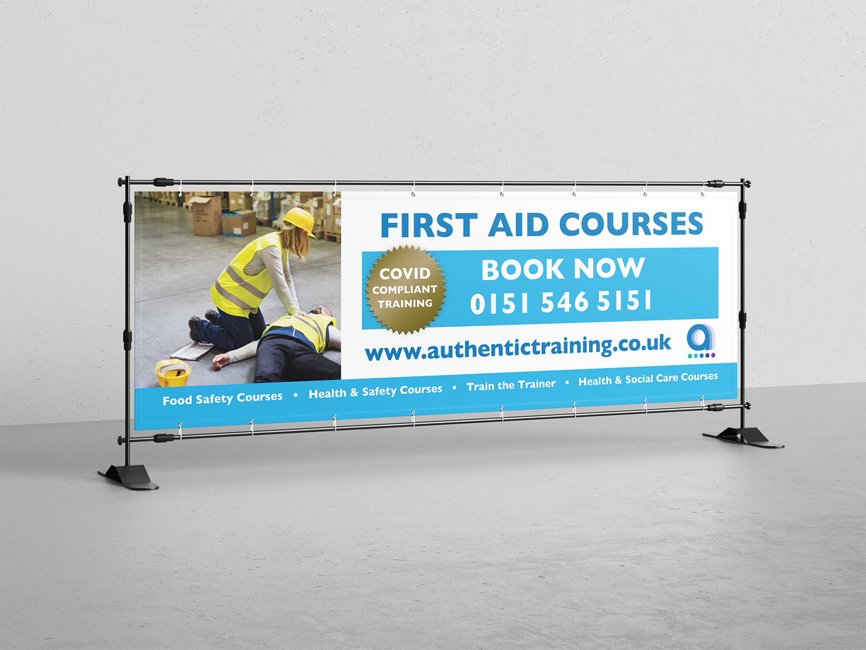 Mesh banner produced to be displayed at the roadside for Authentic Training. This was to promote their Covid safe first aid courses, so feature a prominent call to action to book.