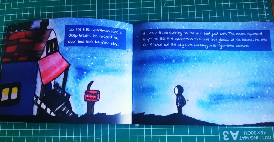A spread from the Little Spaceman children's book. Illustrated by Lawrence of Cosmos Illustrations and designed by Emma jayne creative,