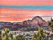 Sedona Arizona.  View from Airport.  Original Photo by Virginia Crowe.  Digitally. Enhanced